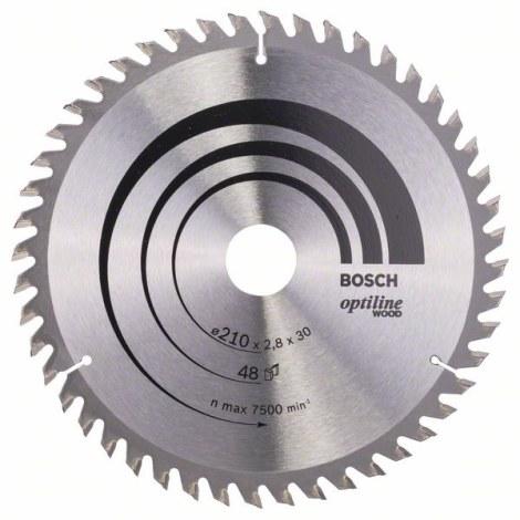 Pjovimo diskas medienai Bosch OPTILINE WOOD; 210x2,8x30,0 mm; Z48; 15°