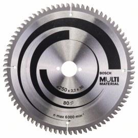 Pjovimo diskas medienai Bosch MULTI MATERIAL; 250x3,2x30,0 mm; Z80; -5°