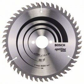 Pjovimo diskas medienai Bosch OPTILINE WOOD; 190x2,6x30,0 mm; Z48; 15°