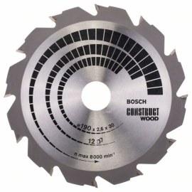 Pjovimo diskas medienai Bosch CONSTRUCT WOOD; 190x2,6x30,0 mm; Z12; 12°