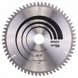 Pjovimo diskas medienai Bosch; OPTILINE WOOD; Ø216 mm