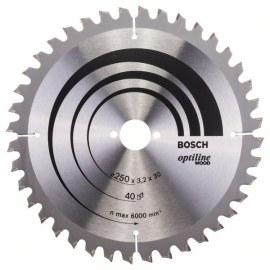 Pjovimo diskas medienai Bosch OPTILINE WOOD; 250x3,2x30,0 mm; Z40; -5°