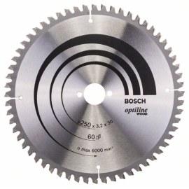 Pjovimo diskas medienai Bosch OPTILINE WOOD; 250x3,2x30,0 mm; Z60; -5°