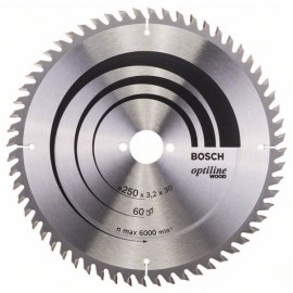 Pjovimo diskas medienai Bosch OPTILINE WOOD; 250x3,2x30,0 mm; Z60; 10°