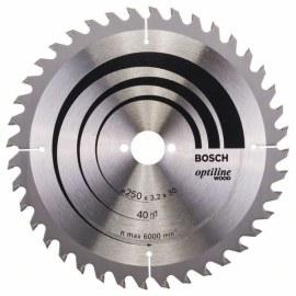 Pjovimo diskas medienai Bosch OPTILINE WOOD; 250x3,2x30,0 mm; Z40; 10°