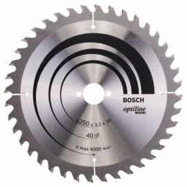 Pjovimo diskas medienai Bosch OPTILINE WOOD; 250x3,2x30,0 mm; Z40; 15°