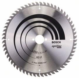 Pjovimo diskas medienai Bosch OPTILINE WOOD; 250x3,2x30,0 mm; Z60; 15°