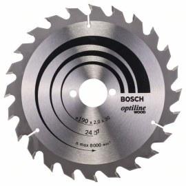 Pjovimo diskas medienai Bosch OPTILINE WOOD; 190x2x30,0 mm; Z24; 15°