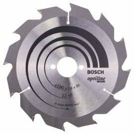 Pjovimo diskas medienai Bosch OPTILINE WOOD; 190x2,6x30,0 mm; Z12; 15°