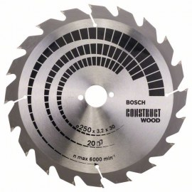 Pjovimo diskas medienai Bosch CONSTRUCT WOOD; 250x3,2x30,0 mm; Z20; 15°