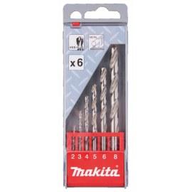 Grąžtų komplektas metalui Makita HSS-G; 2-8 mm; 6 vnt.