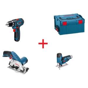 Įrankių rinkinys Bosch (GSR 10,8-2 LI+GKS 10,8 V-LI+GST 10,8 V-Li); 10,8 V; 3x1,3 Ah akum.