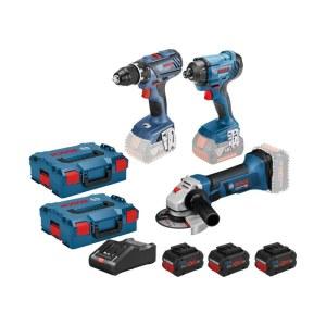 Įrankių rinkinys Bosch (GSR 18V-28 + GDR 18V-160 + Bosch GWS 18-125 V-Li); 18 V; 3x4,0 Ah akum.