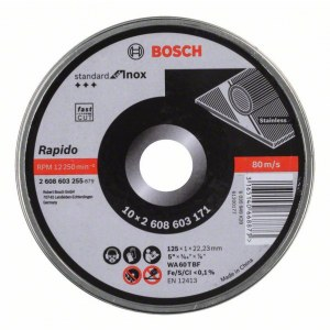 Abrazyvinis pjovimo diskas Bosch Rapido; ; Ø125x1 mm; 10 vnt.