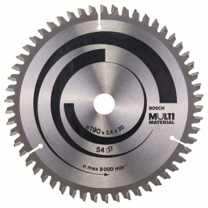 Pjovimo diskas medienai Bosch MULTI MATERIAL; 190x2,4x20,0 mm; Z54; -5°