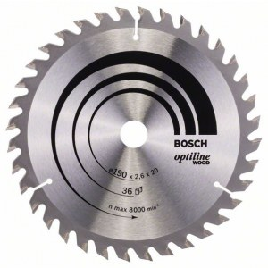 Pjovimo diskas medienai Bosch OPTILINE WOOD; 190x2,6x20,0 mm; Z36; 15°