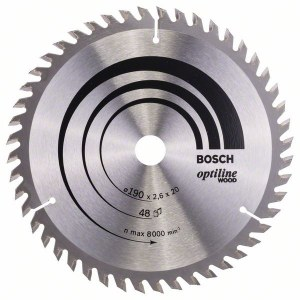Pjovimo diskas medienai Bosch OPTILINE WOOD; 190x2,6x20,0 mm; Z48; 15°