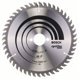 Pjovimo diskas medienai Bosch OPTILINE WOOD; 190x2,6x30,0 mm; Z48; 15°