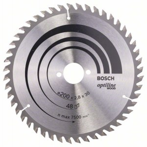 Pjovimo diskas medienai Bosch OPTILINE WOOD; 200x2,8x30,0 mm; Z48; 15°