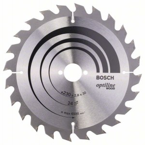 Pjovimo diskas medienai Bosch OPTILINE WOOD; 230x2,8x30,0 mm; Z24; 15°