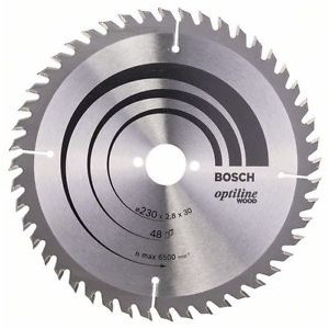 Pjovimo diskas medienai Bosch OPTILINE WOOD; 230x2,8x30,0 mm; Z48; 15°