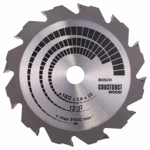 Pjovimo diskas medienai Bosch CONSTRUCT WOOD; 160x2,6x20,0 mm; Z12; 12°