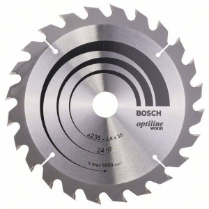 Pjovimo diskas medienai Bosch OPTILINE WOOD; 235x2,8x30,0 mm; Z24; 15°