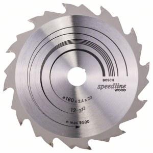 Pjovimo diskas medienai Bosch SPEEDLINE WOOD; 160x2,4x20,0 mm; Z12; 15°
