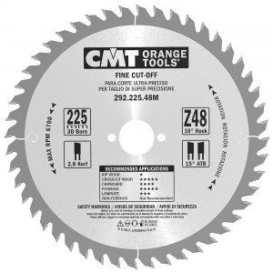 Pjovimo diskas medienai CMT 225x2,8x30; Z48; 10°