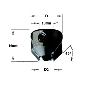 Kūginis gilintuvas CMT 315.200.12; 20 mm; D2=5-10 mm
