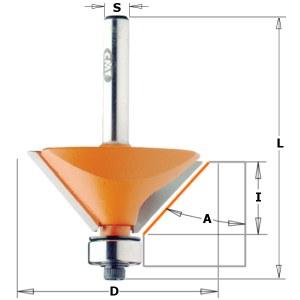 Nuožulnų freza CMT; S=6 mm; D=45 mm; su guoliu