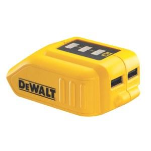 Akumuliatorių adapterisDeWalt DCB09010,8 - 18 V -> USB (x2); tinka krauti telefono baterijoms