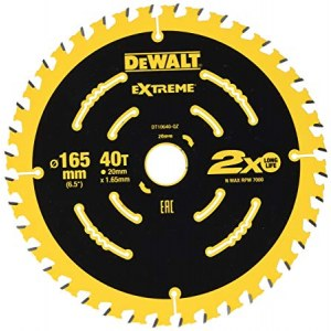 Pjovimo diskas medienai DeWalt; 165x1,65x20,0 mm; Z40; 18°