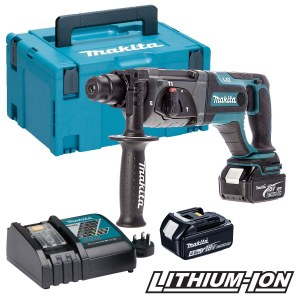 Akum. perforatorius Makita DHR241RTJ; 2,0 J; SDS-plus; 18 V; 2x5,0 Ah akum.