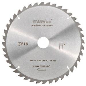 Pjovimo diskas medienai Metabo Classic; 216x2,4x30,0 mm; Z40; -5°