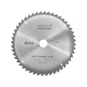 Pjovimo diskas medienai Metabo Classic; 254x2,4x30,0 mm; Z48; -5°