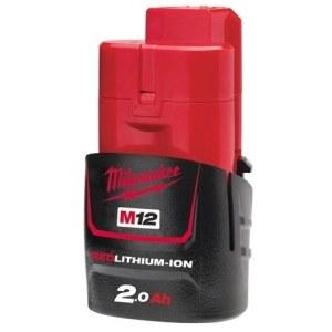 Akumuliatorius Milwaukee M12 B2; 12 V; 2,0 Ah; Li-Ion (be pakuotės)