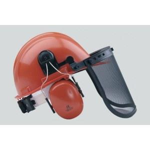 Apsauginis šalmas Ratioparts 6-888; su apsauginiu skydeliu ir ausinėmis